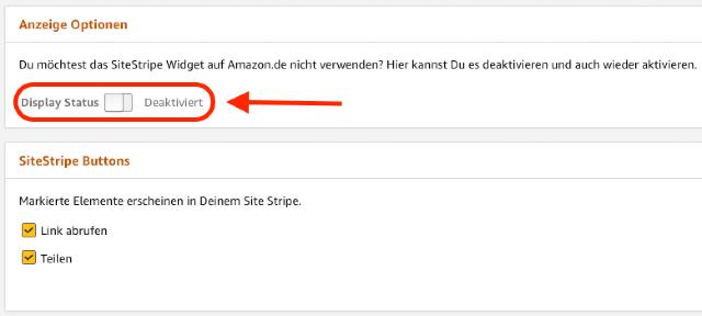 Der Screenshot zeigt den deaktivierten Display Status in den SiteStripe Anzeige Optionen.
