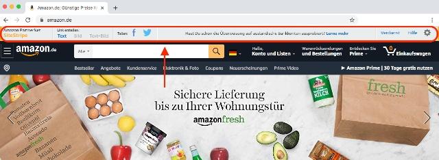 Screenshot zeigt das Amazon SiteStripe Tool im oberen Bereich der Amazon Shop Webseite.
