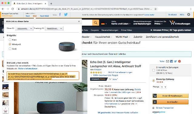 Screenshot zeigt die Erstellung eines Bildlinks mit Hilfe des SiteStripe Tools über die Amazon.de Shopseite.