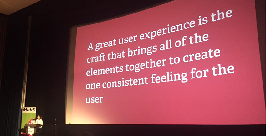 """This is a screenshot of a presentation on user experience called """"The misconstructed user experience"""" describing what makes a good user experience"""