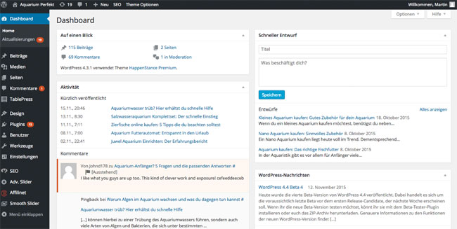 Was ist WordPress Dashboard