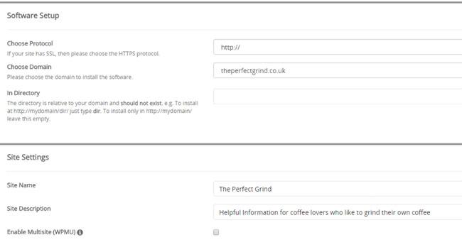Configuration du compte WordPress